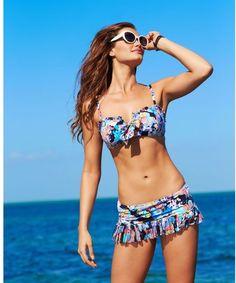 77ea4bfd64e88 Bandeau Printed Ruffle Bikini Top - Lyst Ruffled Bikini Top