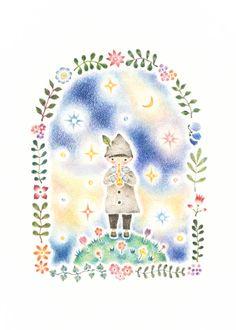 """""""Child Play Recorder on Star"""" −RiLi, picture book, illustration, design ___ """"星の上で笛を吹く子供"""" −リリ, 絵本, イラスト, デザイン ...... #illustration #star #music #child #イラスト #星 #音楽 #子供"""