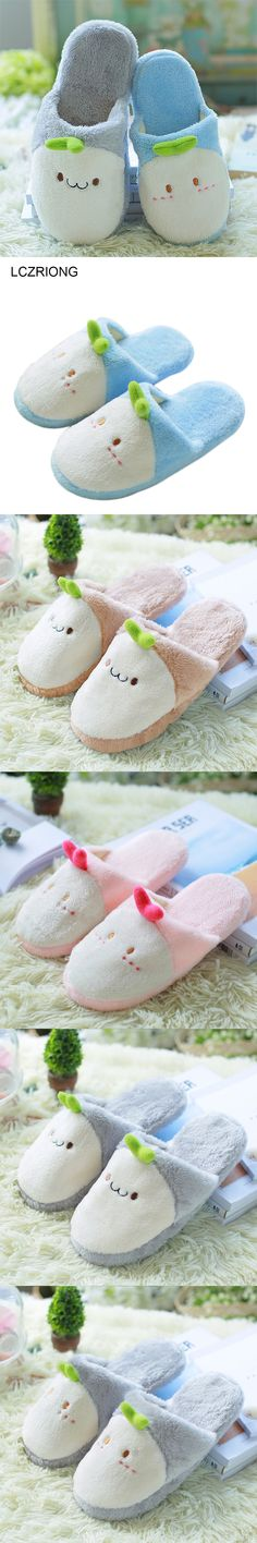 Cute Animal Cartoon Women Winter Home Slippers For Indoor Shoes Bedroom Warm House Slippers Cotton Shoes Adult Lovers Plush Flat