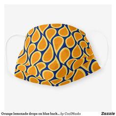 Orange lemonade drops on blue background cloth face mask Shape Of You, Blue Backgrounds, Snug Fit, Lemonade, Sensitive Skin, Drop, Orange, Face Masks, Pattern