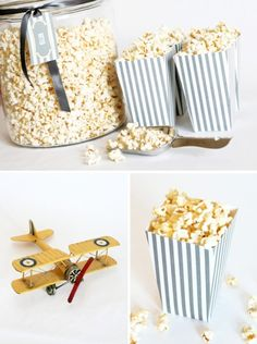 free printable: DIY popcorn boxes  {note: print 2 copies for each box...then use the template to make custom boxes later out of the paper of your choice!}  via One Charming Party