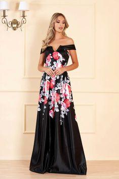 Rochie neagra lunga de seara cu decolteu adanc si imprimeuri florale Formal Dresses, Wedding Dresses, Nasa, Strapless Dress, Floral, Shopping, Check, Products, Tulle