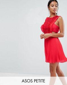 ASOS PETITE Lace Pinafore Pleated Mini Dress
