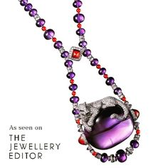 An iconic Cartier panther  lazes on a 175 carat Amethyst cabochon in the  Étourdissant collection
