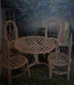 dollhouse outdoor furniture. DOLLHOUSE MINIATURES WICKER TABLE SET SCALE 1 :12 Dollhouse Outdoor Furniture Y