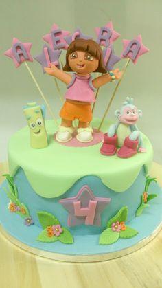 ¡¡Tarta de Dora la Exploradora!! Bizcocho de vainilla con relleno de ganache de chocolate con leche.  (Dora cake)