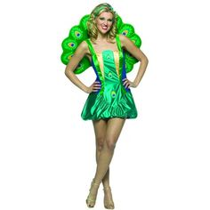73667b64260adc This Adult Lightweight Peacock Costume includes a sexy satin mini-dress with