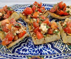 Tomato, Basil, and Feta Bruschetta