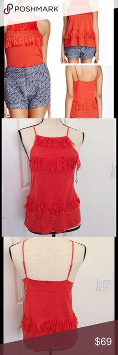 NWT Townsen Orange XS Fringe Tank Top Norsdstrom Brand new amazing price in a gorgeous top. Nordstrom Tops