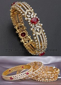 Jewellery Designs: Pretty Latest Diamond Bangles