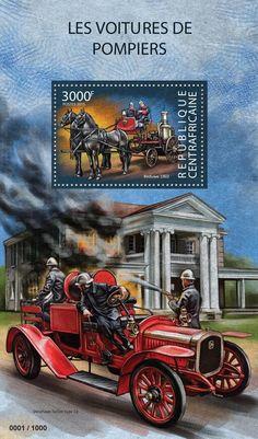 Central African Republic post stamp CA 15304 bFire engines (Beduwe 1902)