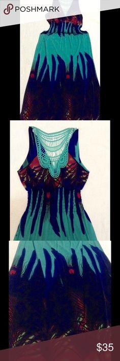 Beautiful long silk dress size Large. 65% silk 35% polyester, beautiful multi-color dress, size Large, pre owned, excellent condition. Dresses Maxi