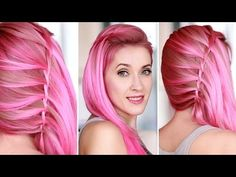 Glam Rock hairstyle for medium/long hair ★ Side swept waterfall twist - YouTube