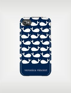 Personalized iPhone Case 4 / 4S or 3G - Navy and White Whales - Custom Designed Cover - original design by a drop of golden sun.