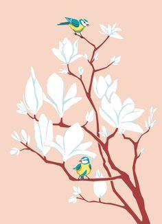 Magnolia, Illustration by Tanja Di Maria Illustrator, Magnolia Trees, Spring Time, Bloom, Birds, Flowers, Animals, Decor, Art