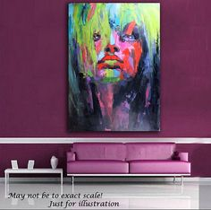 """Original Oil Painting on canvas Still life and Portrait Abstract Art 20"""" x 28"""" Wall Hanging Decor Art. Best Man Gifts Bright Home Decoration"""