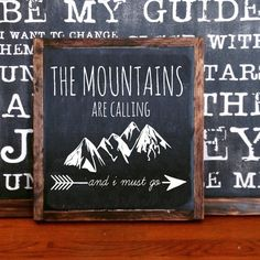 Tin Sign Sayings Mountains are calling