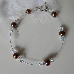 bracelet CRISTAL SWAROVSKI BLANC CHOCOLA/ fil cablé blanc/ mariage/soirée/mariée €7