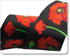 A new ribbon from LFN Textiles, Red Poppy on Black is dramatic and vibrant. A new width, 1 1/2, and brocaded taffeta construction, make this highly
