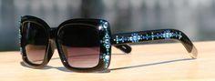 Bling Sunglasses in Capri Blue and Teal Black Frames 400 UV