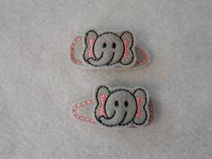 Elephant Felt Hair Clip Set by slipnstitchemb1 on Etsy, $5.00