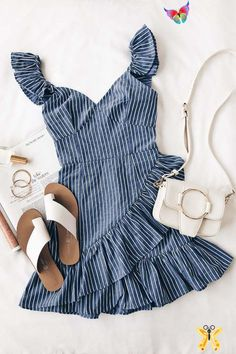 Parcel Blue and White Striped Ruffle Mini Dress Preppy Spring Fashion<br> Women's Dresses, Dresses Online, Blue Dresses, Dress Outfits, Work Outfits, Preppy Dresses, Country Dresses, Preppy Outfits, Dress Clothes