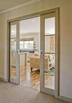Don't settle for a mediocre pocket door, get the high quality Cavity Sliders soft closing pocket door kit for the finest and smoothest operation - Now for Double Doors Interior Pocket Doors, Sliding Pocket Doors, Sliding Door Design, Double Doors Interior, Cavity Sliding Doors, Glass Pocket Doors, Sliding Glass Door, Glass Doors, Doors And Floors