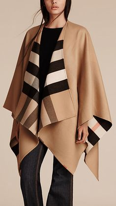 Camel Check Wool Poncho - Image 2