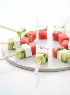 kalte Vorspeise mit Gurke Feta Käse Wassermelone
