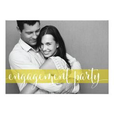 Yellow Wedding Invitations Whimsical Script Photo Engagement Party Invitation