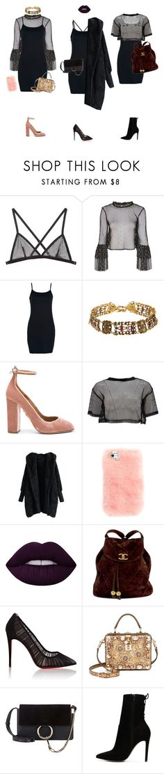 """""""3 black dress looks"""" by diablana on Polyvore featuring Fleur du Mal, Lace & Beads, WithChic, Aquazzura, Boohoo, Lime Crime, Chanel, Christian Louboutin, Dolce&Gabbana and Chloé"""