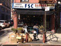 Shopfront Bench in front of FSC Barber - 5 Horatio St, New York, NY - Photo: Mike Lydon