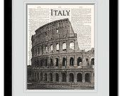 Roman Colosseum dictionary art print. Classic photo of The Colosseum on vintage dictionary paper. *Buy any of our 4 prints get 2 FREE!
