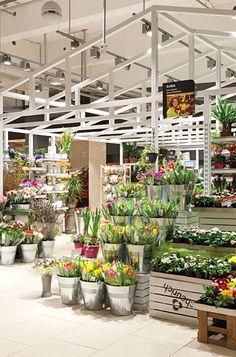 Auch Blumen sind im Eingangsbereich in Marktplatzoptik platziert. Der Bereich hebt sich durch eine weiße Holzkonstruktion an der Decke vom restlichen Laden ab.