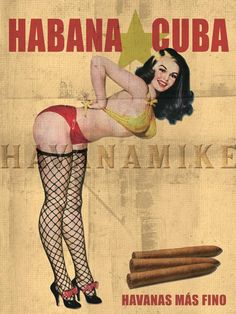 Habana Cuban Cigar Girl FISHNET Vintage Pinup Poster Print. $19.95, via Etsy.