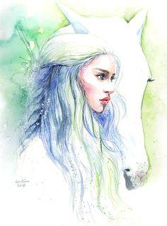 Game of Thrones Daenerys Targaryen with Horse by sookimstudio