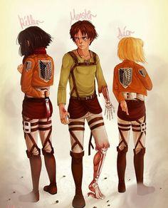Mikasa, Erdn, Armin, Attack on titan, AOT, SNK