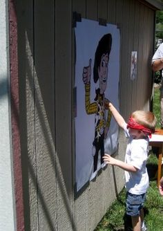 "Pin the badge on Woody -- time to use my enlargement ""skills"""