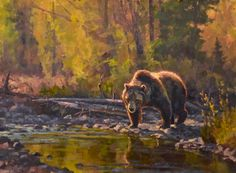 Chad Poppleton, Golden Reflections, oil, 12 x - Southwest Art Magazine Bear Paintings, Wildlife Paintings, Wildlife Art, Southwest Art, Bear Art, Polar Bears, Western Art, Big Game, Watercolor Landscape