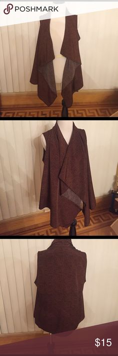 Audrey3+1 OSFM draped vest I LOVE THIS DRAPED VEST! It deserves a new home. Great condition. No side tag. But fits most sizes. I am a size S. Has a brown/ orangeish color. Color is described perfectly in picture. Very light weight Jackets & Coats Vests