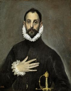 El Greco was a great painter of religious subjects, portraiture, and landscapes. Here are 10 of his best paintings.  Portrait of a man with his hand on his chest.