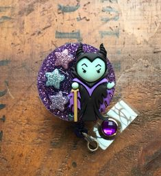 Disney* Sleeping Beauty* Maleficent* ID Badge, RN Reel, Holder or Pen Holder with Clip for Work, Conventions, Etc. Sleeping Beauty Maleficent, Disney Sleeping Beauty, Disney Maleficent, Acrylic Keychains, Retractable Id Badge Holder, Nurse Badge, Cute Polymer Clay, Mothers Day Presents, Id Badge Holders