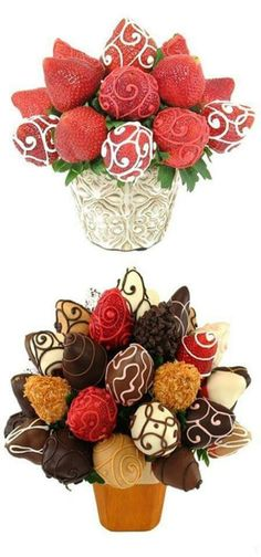 Fruitbouquet with chocolate