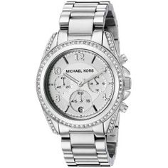 Tradition meets sparkle in the Michael Kors Silver Blair Watch. Its polished stainless steel bracelet-style band has a fold-over clasp to lock and hold the oversized stainless steel case in place. Michael Kors Outlet, Handbags Michael Kors, Michael Kors Watch, St Michael, Luxury Sunglasses, Silver Diamonds, Stainless Steel Bracelet, Quartz Watch, Patek Philippe