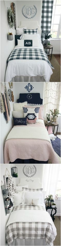 Shop Dorm Room Bedding and Decor. Design your dream dorm room and be the hit of the hall! Select your extended-length dorm bed skirt, dorm headboard, decorative pillows for your dorm bed, twin XL bedding, dorm bed scarf, custom dorm room wall art and monogramming.