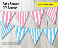 Baby Shower Banner / Pink and Blue Stripe Baby by MochiPaperShop, $4.75