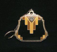 Art Deco Compact Purse, Evans Powder Compact, Vintage Compact, Dance Purse, Finger Ring.