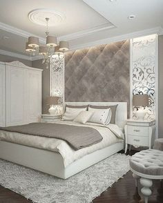 While glittering living rooms and blinding entryways are often the rule, Luxury Master Bedroom interior design is more restrained. Dream Rooms, Dream Bedroom, Home Bedroom, Modern Bedroom, Bedroom Decor Elegant, Taupe Bedroom, King Bedroom, Budget Bedroom, Pretty Bedroom