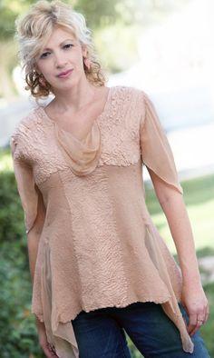 Nuno felted eco-friendly elegant peach short sleeves by GBDesign