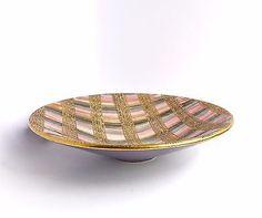 Bitossi-Seta-Bowl-Aldo-Londi-Purple-Tray-Italian-Pottery-Purple-Gold-Plate